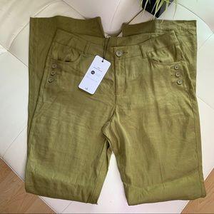 Cabi Linen Charlie TROUSER Pants Size 10L Bronze